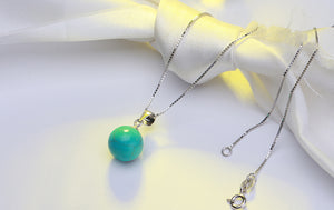Natural Turquoise DECEMBER Birthstone Silver Necklace