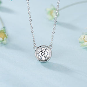 Diamond Accent APRIL Birthstone Silver Pendant Necklace