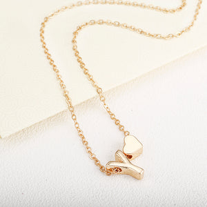 Delicate Gold Letter Necklace with Personalized Charm
