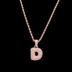 Graffiti-Style Glitter Bubble Letter Pendant Necklace (gold, rose-gold)