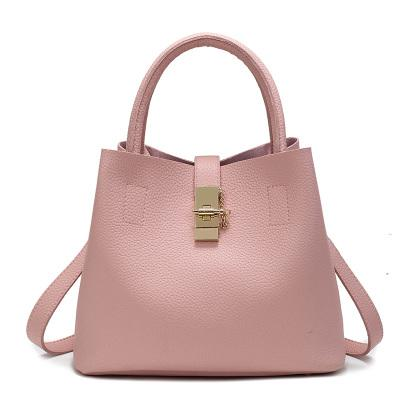 Trendy Dual Straps Tote Bag With Metal Closure Detail in Pink