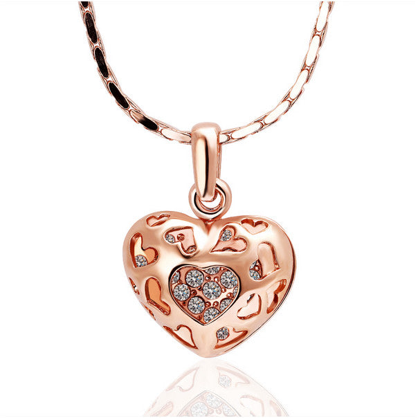 Heart Pendant Necklace with Bling
