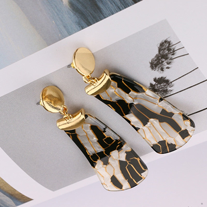Geometric Animal Print Drop Earrings