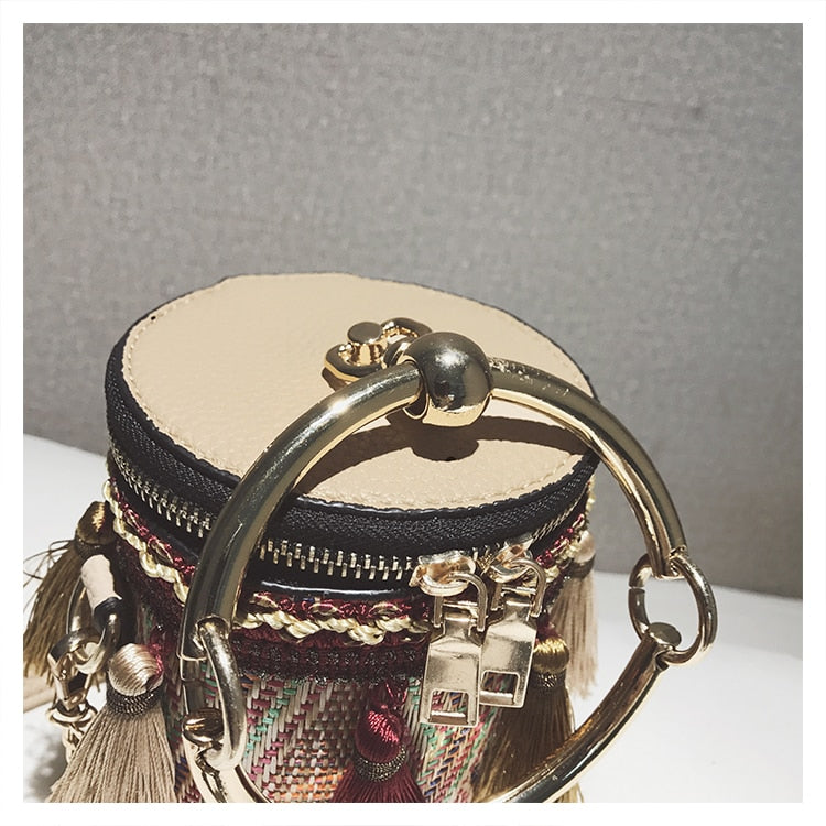 Festive Tasseled Woven Round Cross body Bag