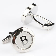 Mens Classic silver Initial letter Cuff Links