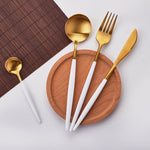 4 Pcs/set White & Gold Flatware