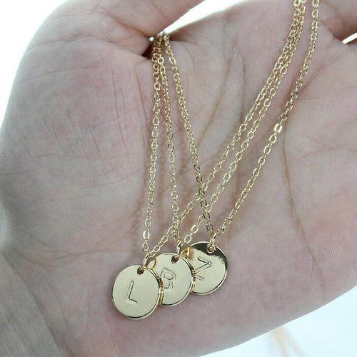Letter Pendant Necklace Gold or Silver Plated