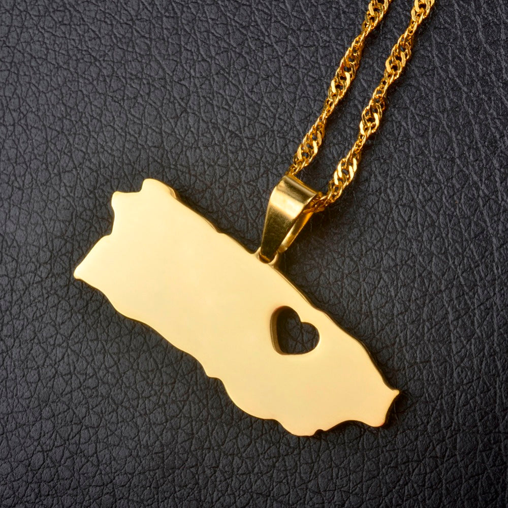 Caribbean Vibes - Puerto Rico With Heart Map Necklace Gold (unisex)