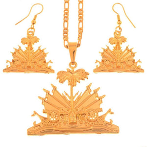 Caribbean Vibes - Haiti Coat of  Arms Earring Set