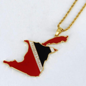 Caribbean Vibes - Trinidad and Tobago Flag Map Necklace