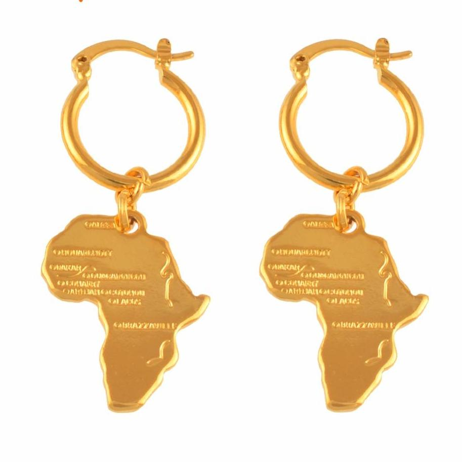 Africa Map Earrings in Gold