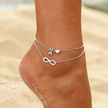 Letter Heart + Infinity Multi-layer Anklet