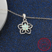 Elegant White Fire Opal Sterling Silver OCTOBER Birthstone in a Cherry Flower Necklace