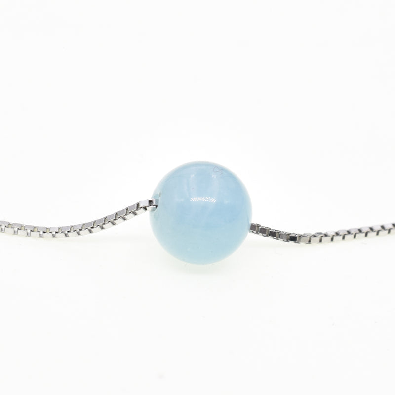 MARCH Birthstone Natural Aquamarine 925 Sterling Silver Necklace