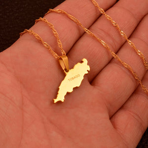 Caribbean Vibes - Tobago Map Pendant Necklace