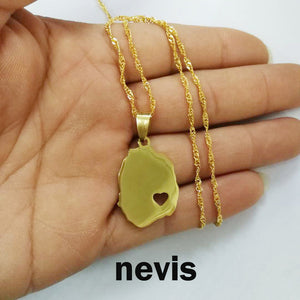 Caribbean Vibes Saint Kitts and Nevis Map Heart Pendant Necklace