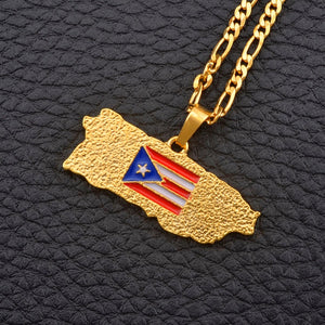 Caribbean Vibes - Puerto Rico Flag Map Necklace Gold (unisex)