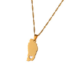 Caribbean Vibes Dominica Map + Heart Pendant Necklace Gold (Limited Stock!)