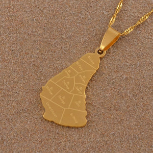 Caribbean Vibes - Barbados Parishes Island Pendant Necklace