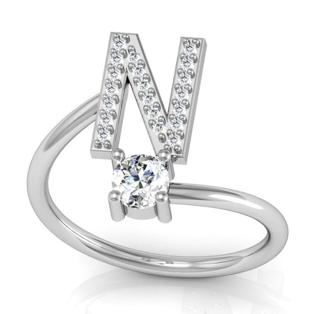 Adjustable Letter Ring with Bling