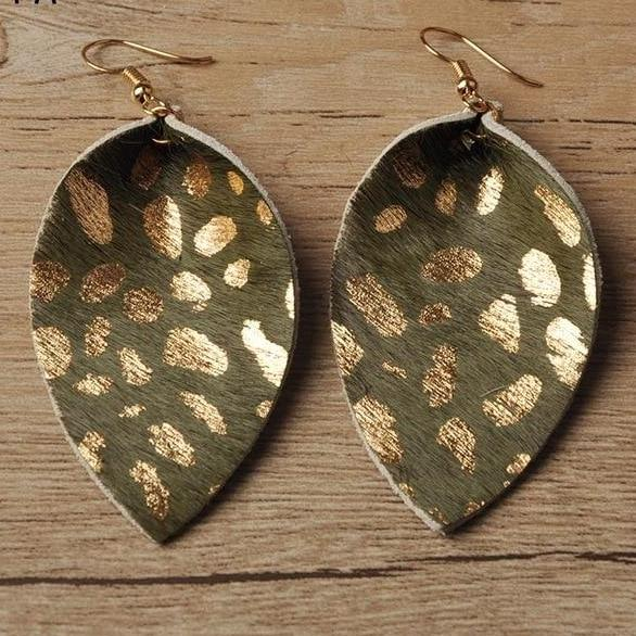 Leopard Print Real Leather Drop Earrings