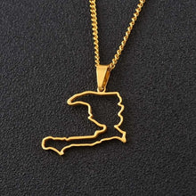 Caribbean Vibes Haiti Outline Map Pendant Necklace