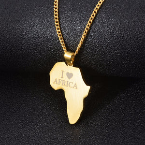AFRICA Love Map Pendant Necklace