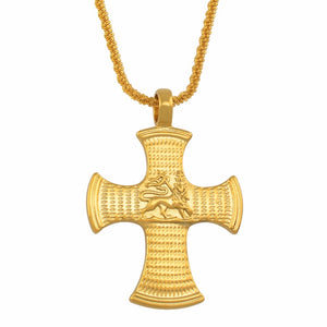Lion of Judah Cross Pendant Necklace
