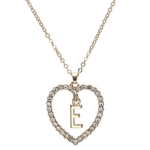 Rhinestone Heart Letter Pendant Necklace