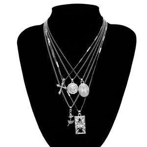 Multi layer Boho 5-piece Spiritual Pendant Necklace Set