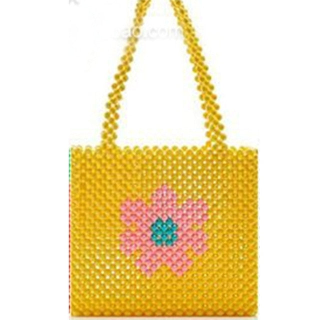 Diva Beaded Design Square Tote