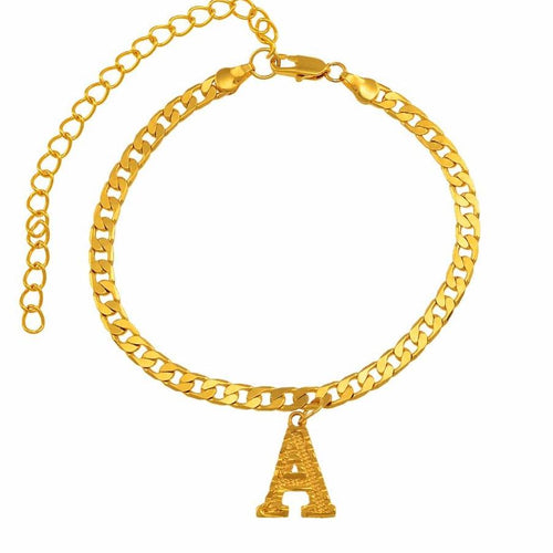 Letter Anklet in Gold