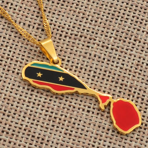 Caribbean Vibes Saint Kitts + Nevis Flag Pendant Necklace