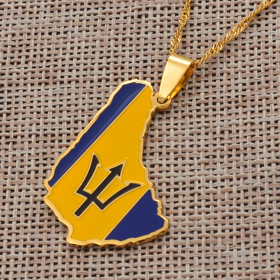 Caribbean Vibes Barbados Island Pendant Necklace