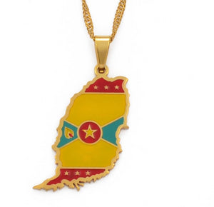 Caribbean Vibes Grenada Island Flag Necklace