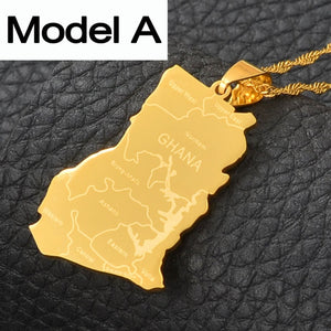 Ghana Country Map Necklace