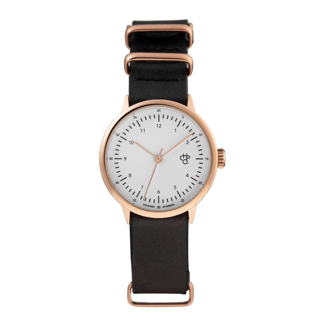 Harold Mini Rose/White (Black strap)