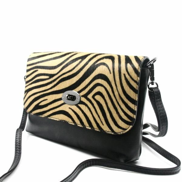 Allegra Leather & Pony clutch Zebra.