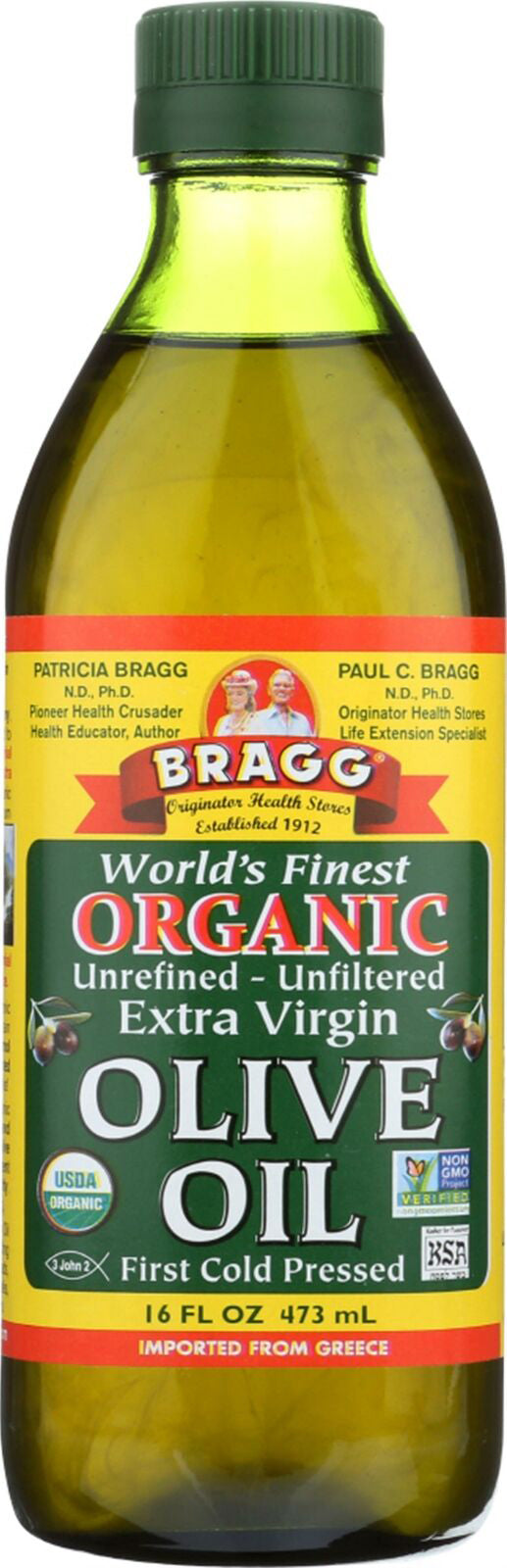 Word's Finest Organic Unrefined/Unfiltered First Cold Pressed Extra Virgin Olive Oil, 16 Fl Oz (473 mL) Liquid