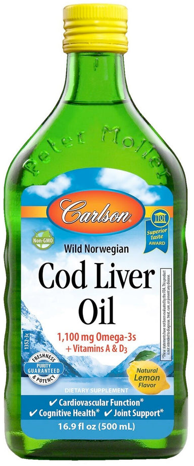 Cod Liver Oil, 1100 mg of Omega-3, Lemon Flavor, 16.9 Fl Oz (500 mL) Liquid