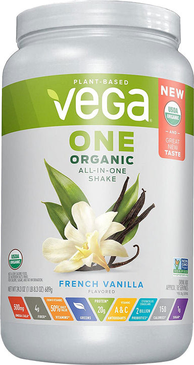 Vega One All-in-One Shake, Vanilla Flavor, 24.3 Oz (689 g) Powder