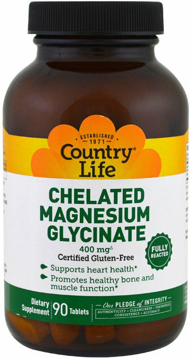 Chelated Magnesium Glycinate, 400 mg, 90 Tablets