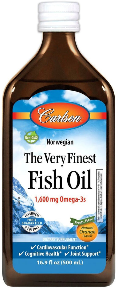 Norwegian The Very Finest Fish Oil, 1600 mg Omega-3s, Orange Flavor, 16.9 Fl Oz (500 mL) Liquid