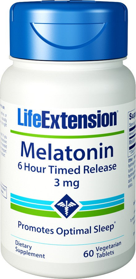 Melatonin 6-Hour Timed Release 3 mg, 60 Vegetarian Tablets