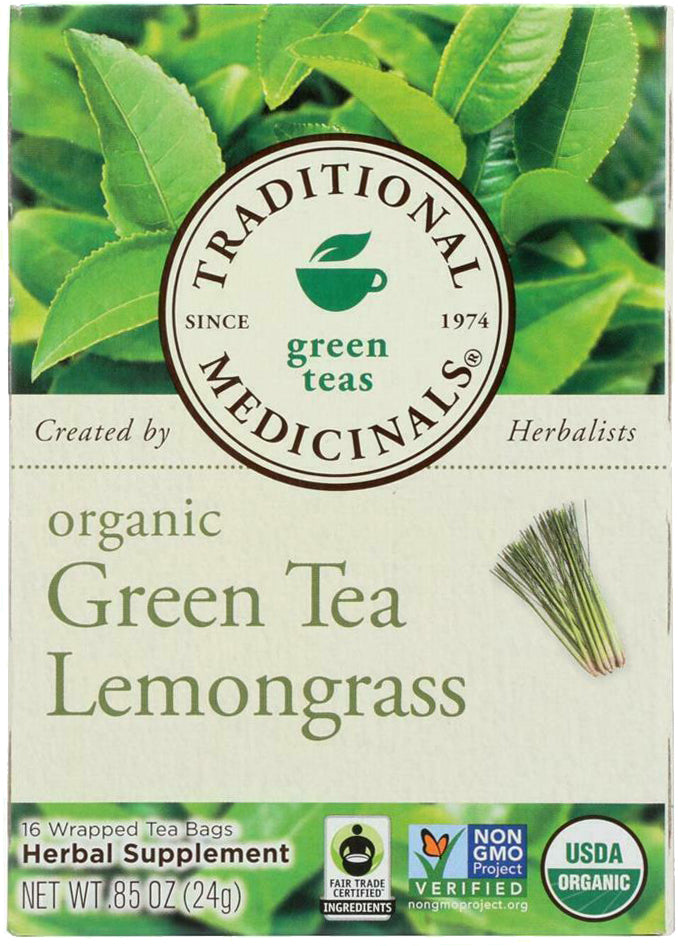 Organic Green Tea with Lemongrass, 0.85 Oz (24 g) - 16 Tea Bags
