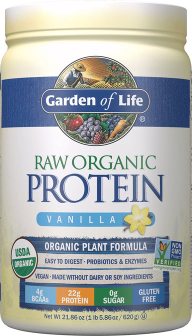 Raw Organic Protein Powder, Vanilla Flavor, 21.86 Oz (620 g) Powder