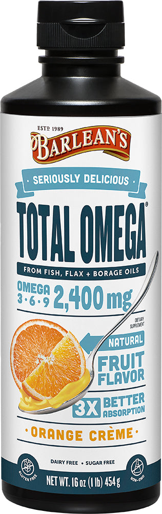 Total Omega, 2400 mg of Omega 3-6-9, Orange Crème Flavor, 16 Fl Oz (454 mL) Liquid