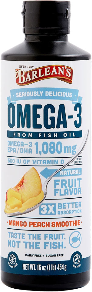 Omega-3 from Fish Oil, 1080 mg Omega-3 EPA and DHA and 600 IU Vitamin D3, Mango Peach Flavor, 16 Fl Oz (454 g) Oil