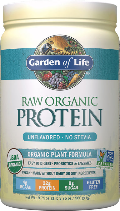 Raw Organic Protein Powder, Unflavored, 19.75 (560 g) Oz