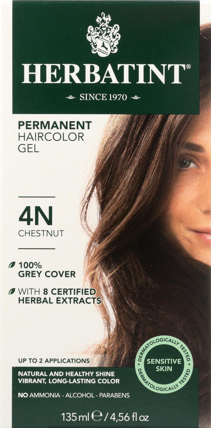Permanent Herbal Hair Color Gel 4N Dark Chestnut, 4.56 Fl Oz (135 mL) Gel